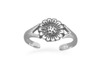 Sterling Silver Sunflower Toe Ring - Seraphim Jewelry