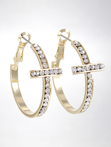 CROSS HOOP Rhinestone EARRINGS - Seraphim Jewelry