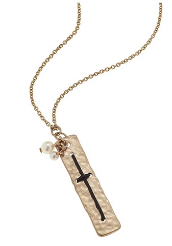 GOLD HAMMERED PLATE CROSS NECKLACE - Seraphim Jewelry