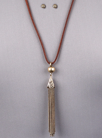BROWN SUEDE TASSLE PENDANT NECKLACE SET - Seraphim Jewelry - 1