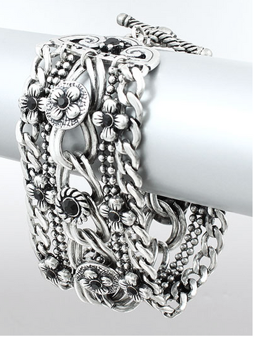 Floral MULTI CHAIN Silver BRACELET - Seraphim Jewelry - 1