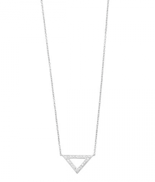 Sterling Triangle Necklace with Diamonds