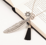 Freedom Feather and Tassel Charm Necklace