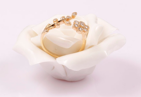 14K Gold-plate Flower Ring