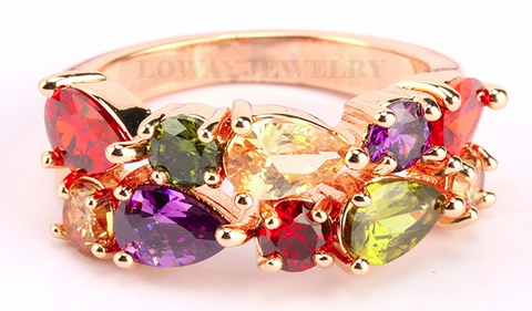 18K Rose Gold plated Multi Colored CZ ring
