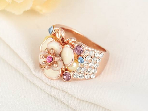 18K Rose Gold Plate Austrian Crystal Ring