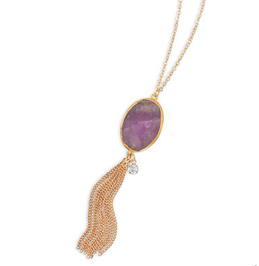 Amethyst Tassel Necklace