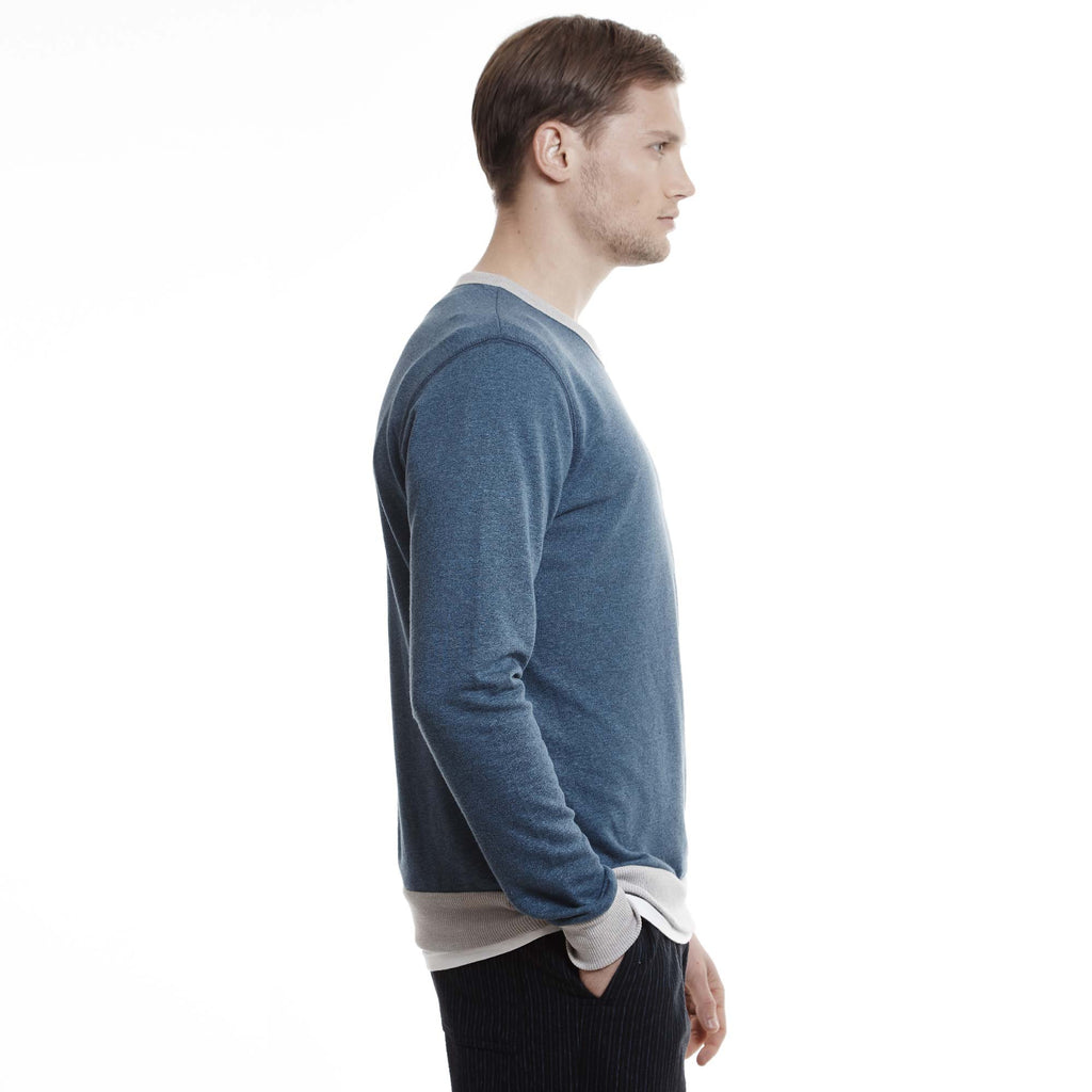 Cove mens ringer sweatshirt long sleeve blue indigo heather