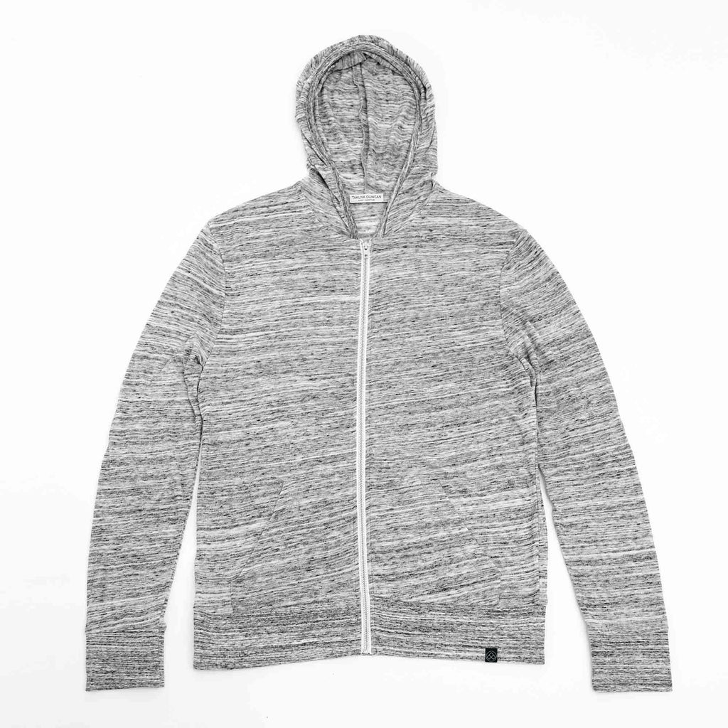 Dunes mens zip hoodie contemporary slim fit grey