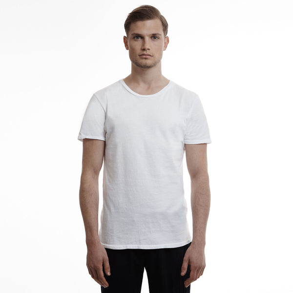 Hamptons crew slim fit cotton white t shirts