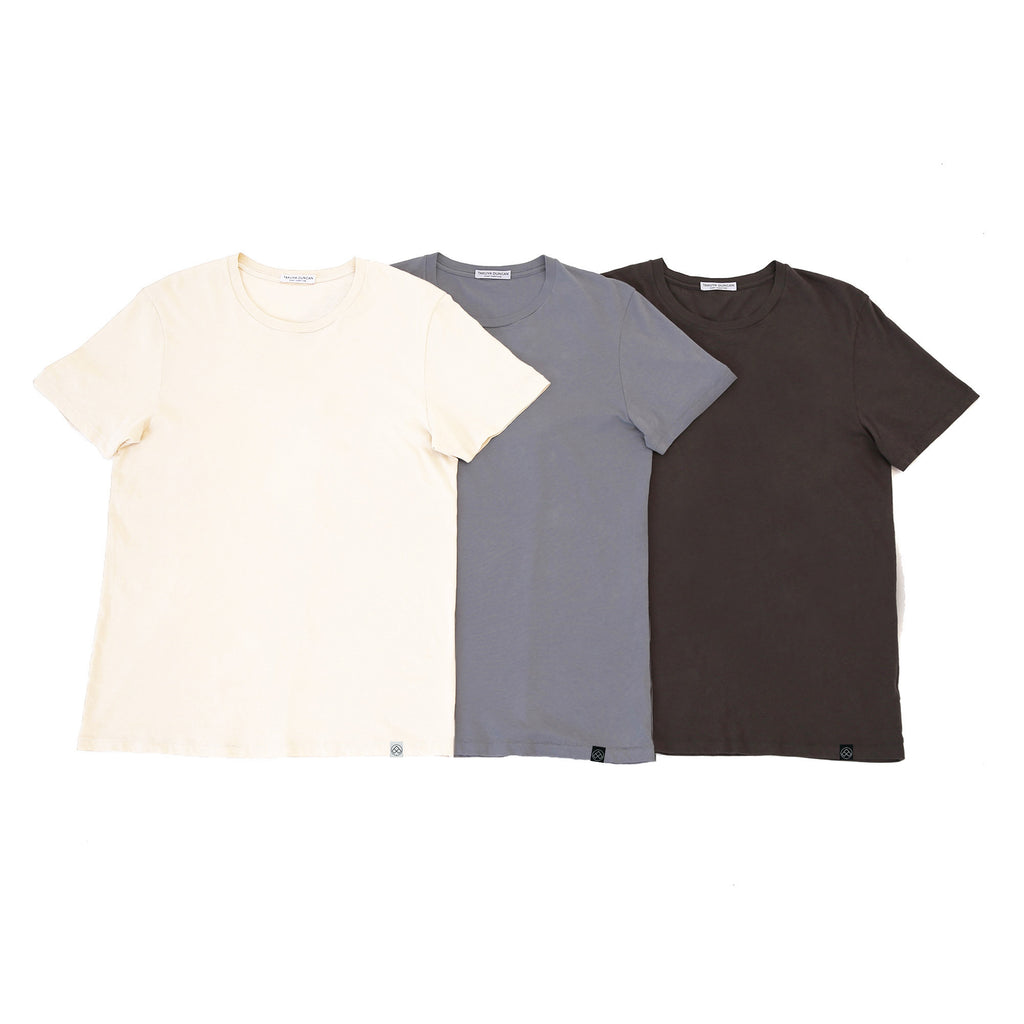 Hampton Cotton Crew T-Shirts, 3-Pack Neutrals