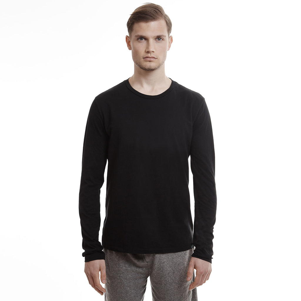 Hamptons crew slim long sleeve cotton black t shirts