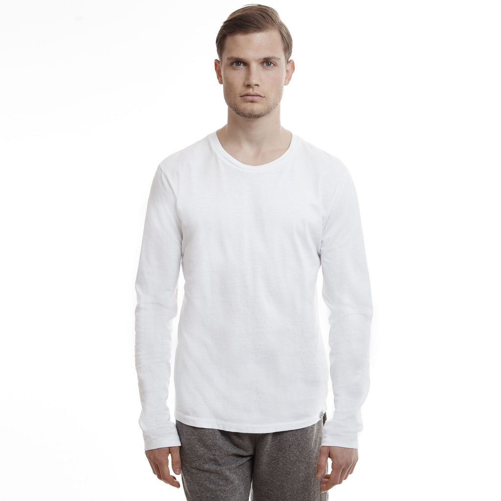 Hamptons crew slim long sleeve cotton white t shirts