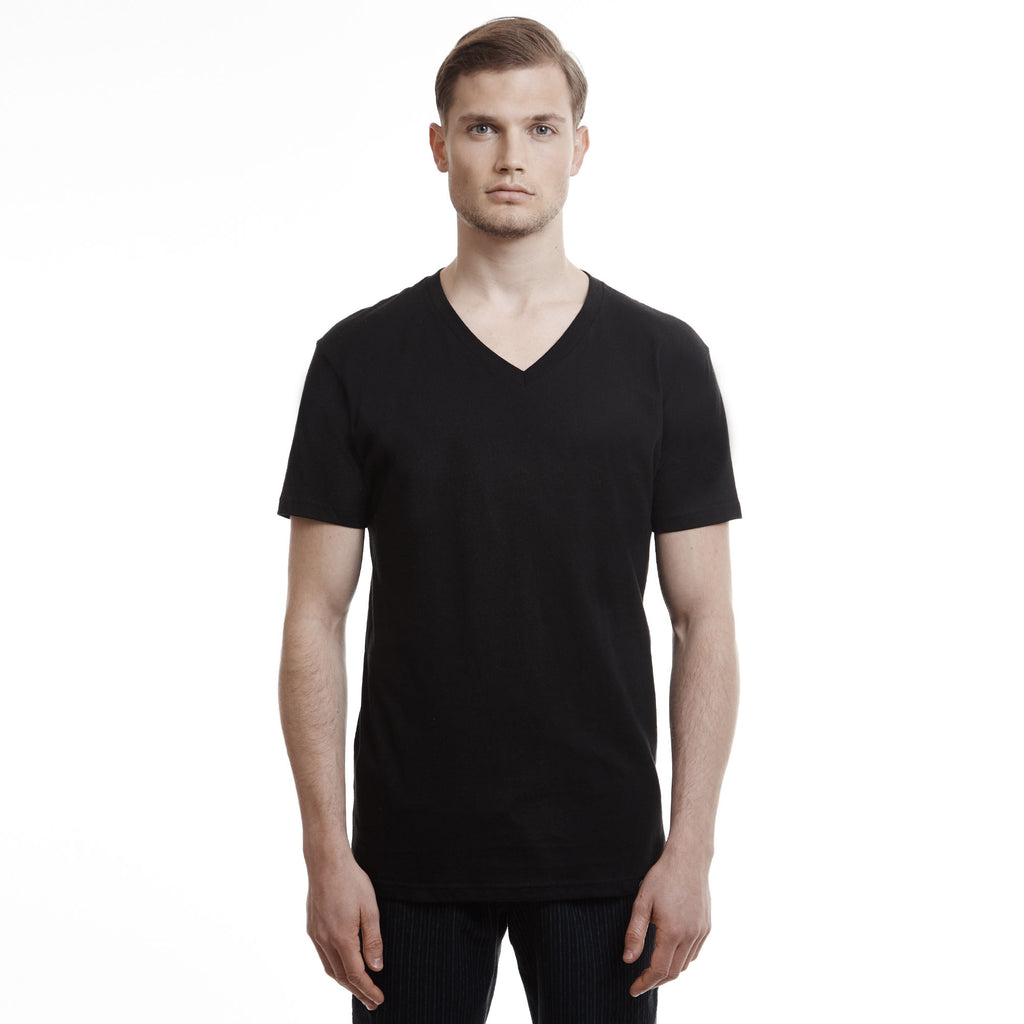 Hamptons Slim Fit V Neck T Shirt black