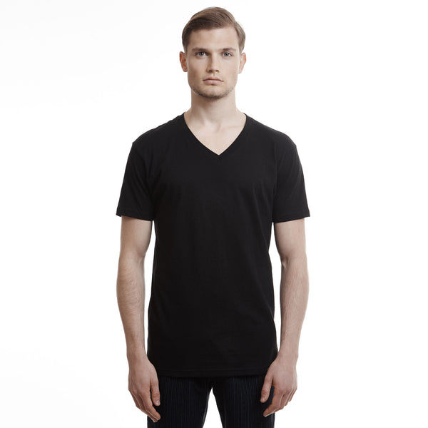 Hamptons v neck slim fit cotton black t shirts