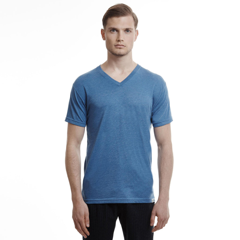 Hamptons Slim Fit V Neck T Shirt Ocean Heather