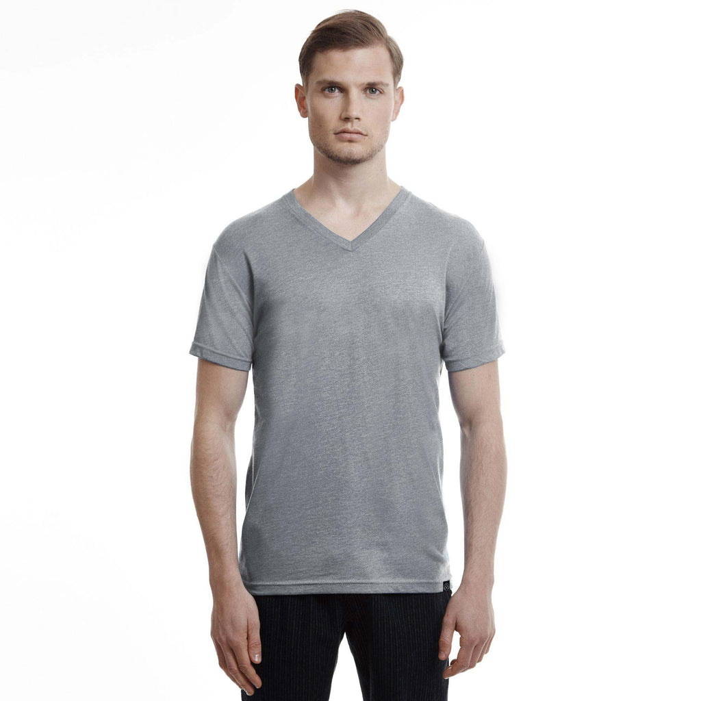 Hamptons Slim Fit V Neck T Shirt Heather Grey