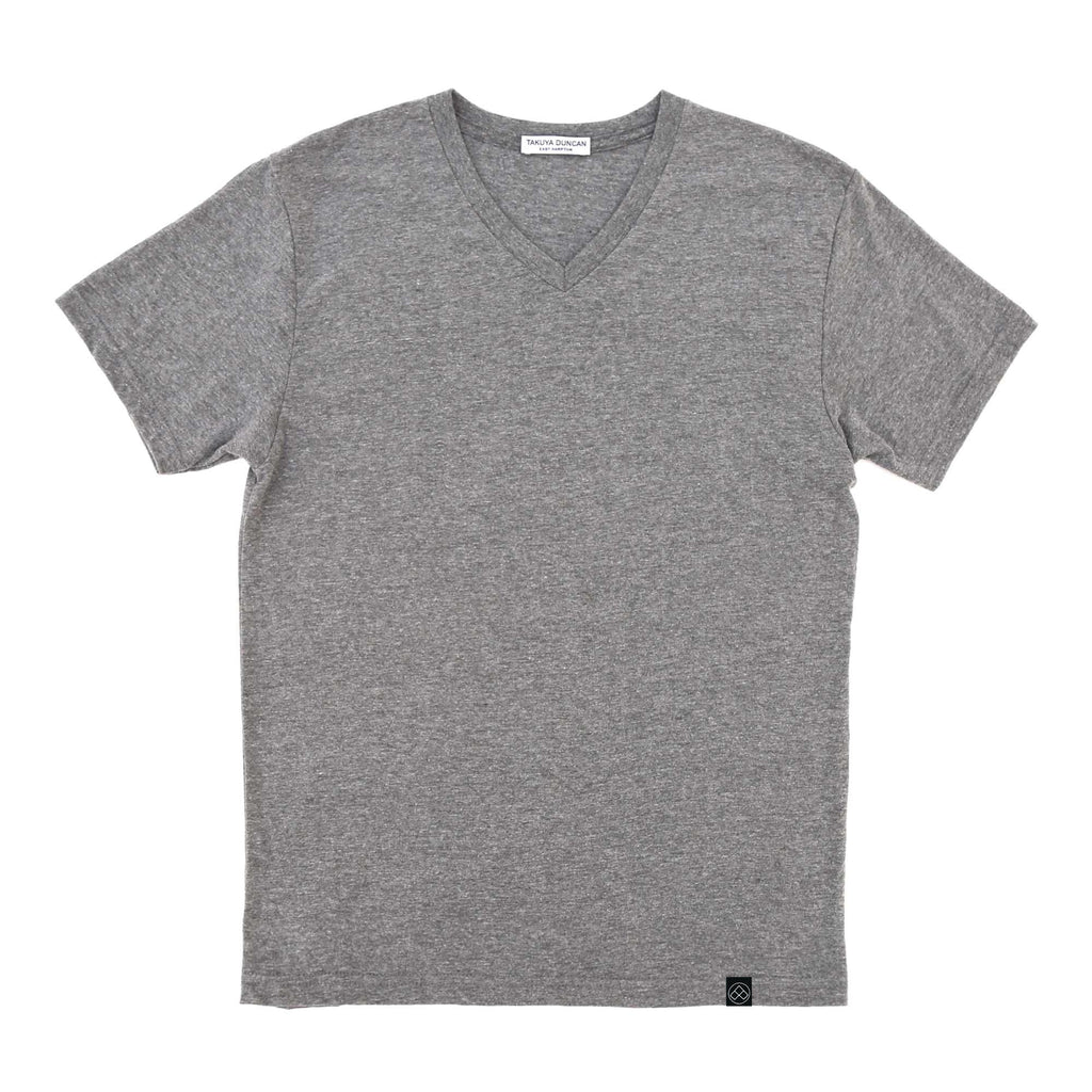 Hamptons v-neck slim fit cotton heather grey t-shirts