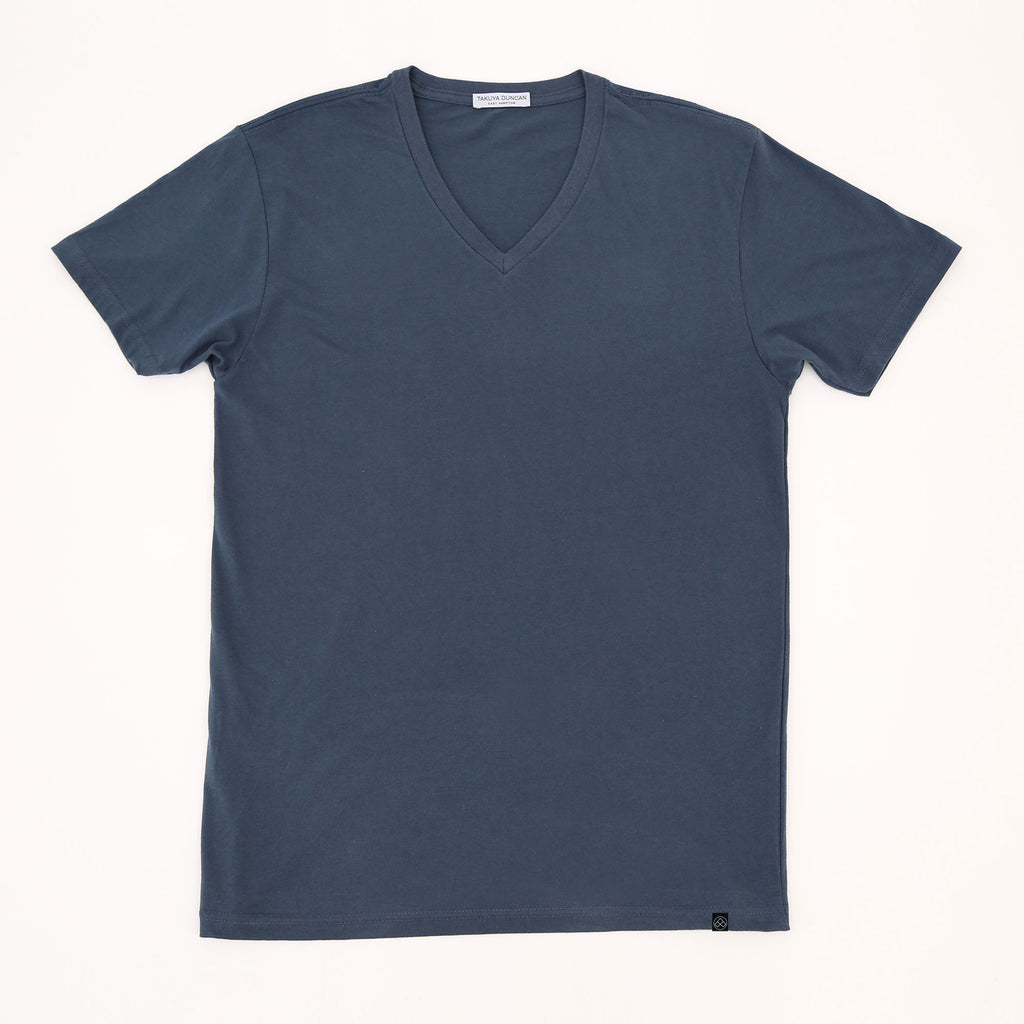 Hamptons Slim Fit V Neck T Shirt Blue Dusk