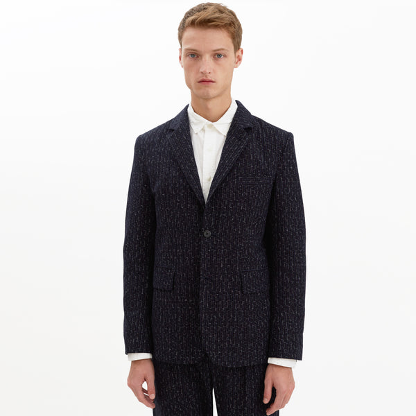 Hartley Check Cotton Blazer, Navy