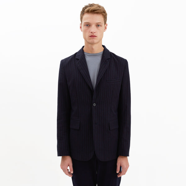 Hartley Pinstriped Cotton Blazer, Navy
