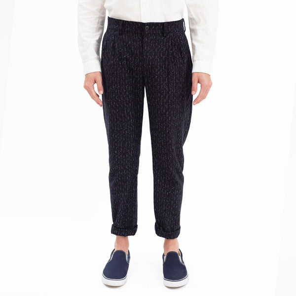 Hartley Pleated Check Cotton Pant, Navy