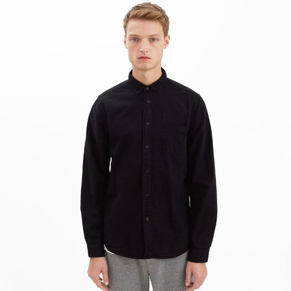 Wainscott Button-Down Collar Cotton Shirt, Black