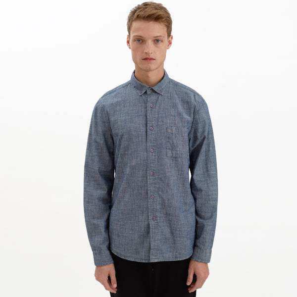 Wainscot mens chambray shirt long sleeve indigo