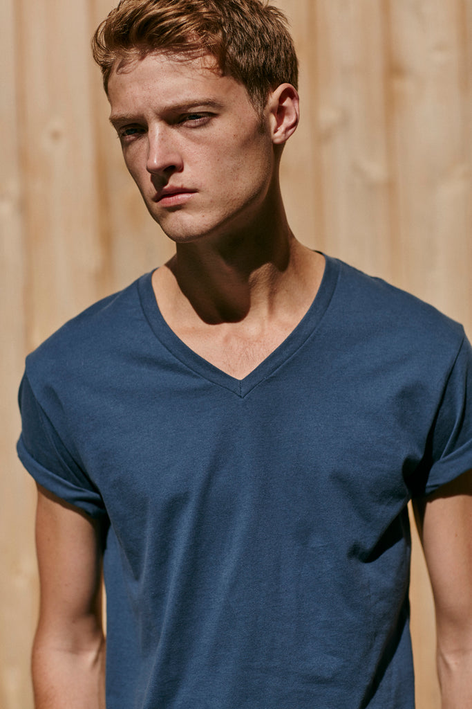 Hampton Cotton V-Neck T-Shirt, Blue Dusk