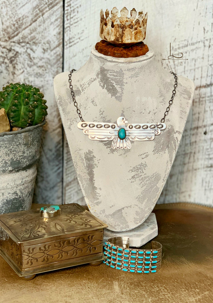 Sterling & Turquoise Thunderbird Necklace - L Trading