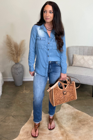 Denim Tencel Button Down Top