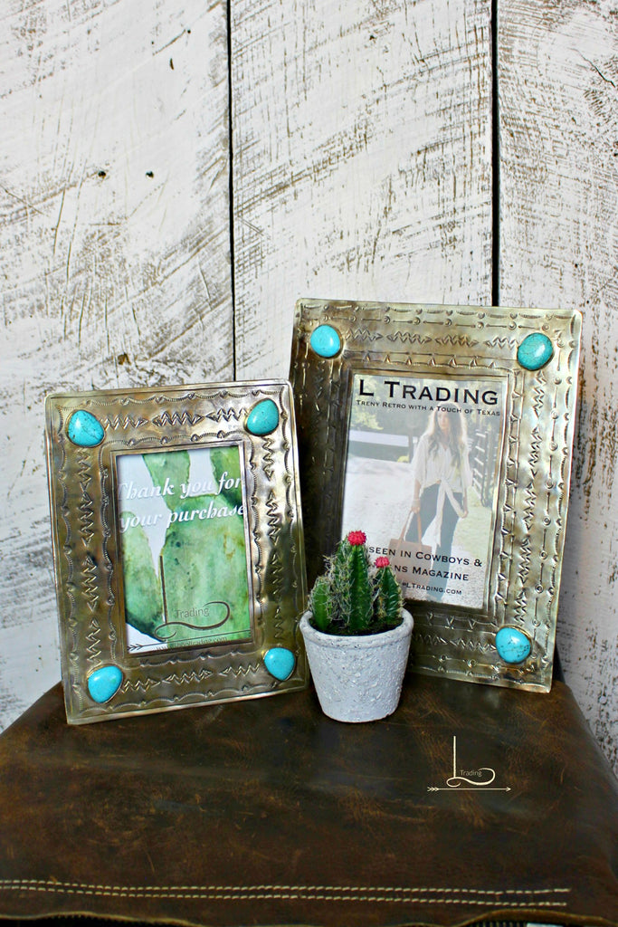 Hand Stamped Silver & Turquoise Frames - L Trading