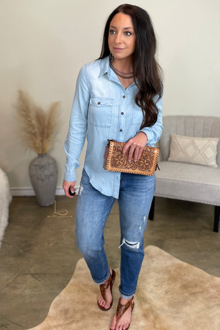 Light Denim Tencel Button Down Top