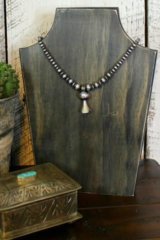 Graduated Navajo Pearl with Squash Blossom Necklace