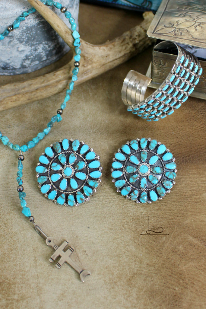 Grande Blue Turquoise Cluster Earrings - L Trading