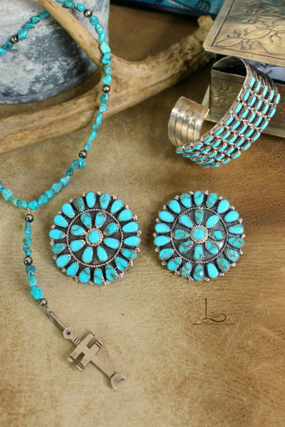 Grande Turquoise Cluster Earrings - L Trading