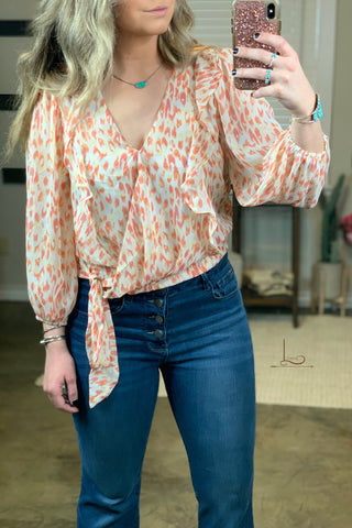 The Coral Tie Top