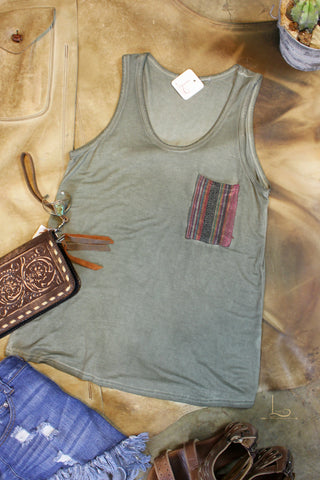 Olive Tank with Serape Patch Pocket