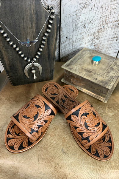 Tooled Leather Slides - L Trading