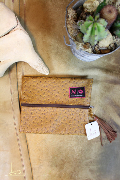 Faux Ostrich Makeup Junkie Bag - Small - L Trading