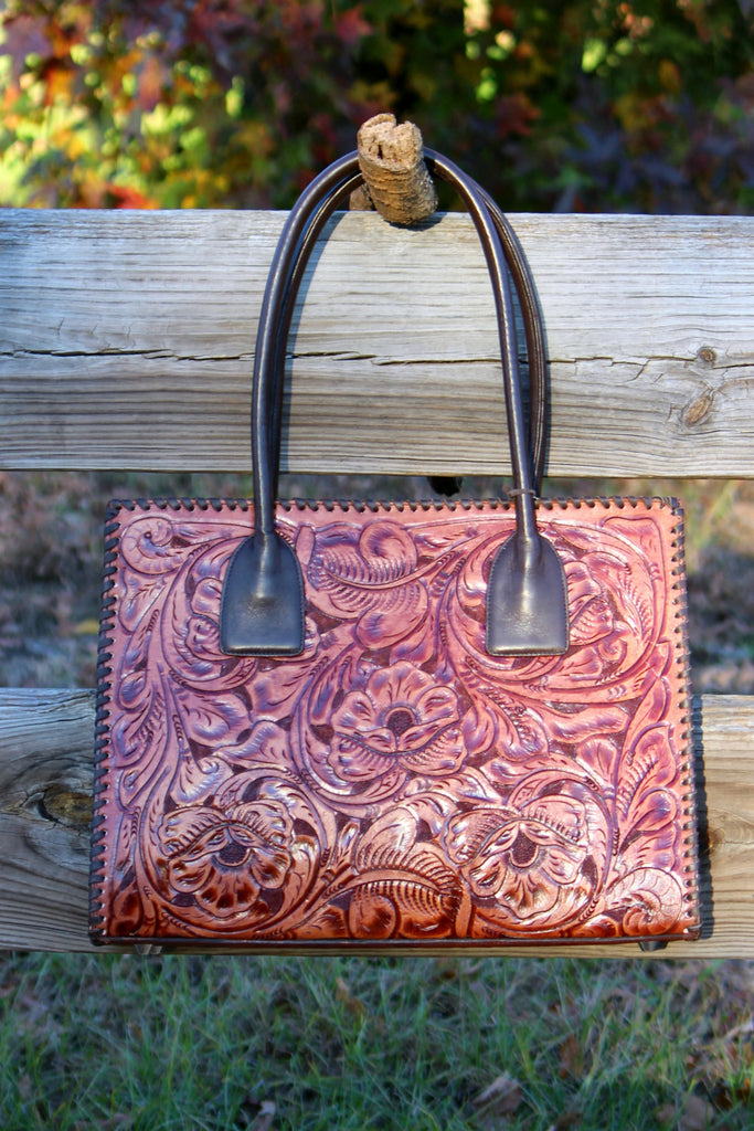 Cognac Tooled Leather Tote - L Trading