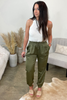 The Olive Satin Joggers