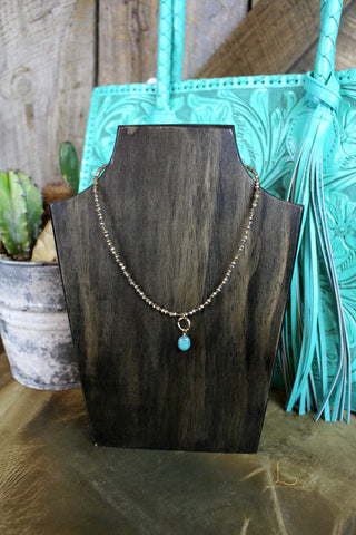 Copper Crystal & Turquoise Necklace