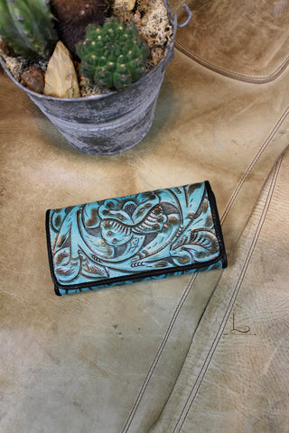 Antonio Turquoise Tooled Small Wallet/Clutch