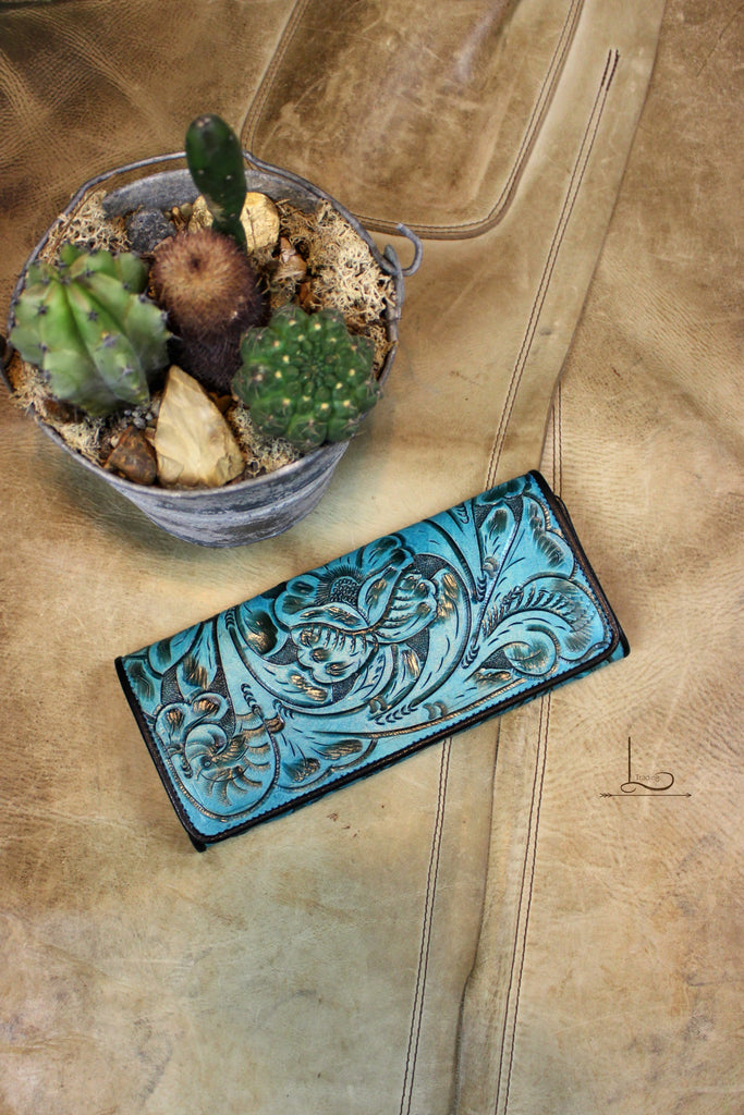 Antonio Turquoise Tooled Wallet/Clutch - L Trading