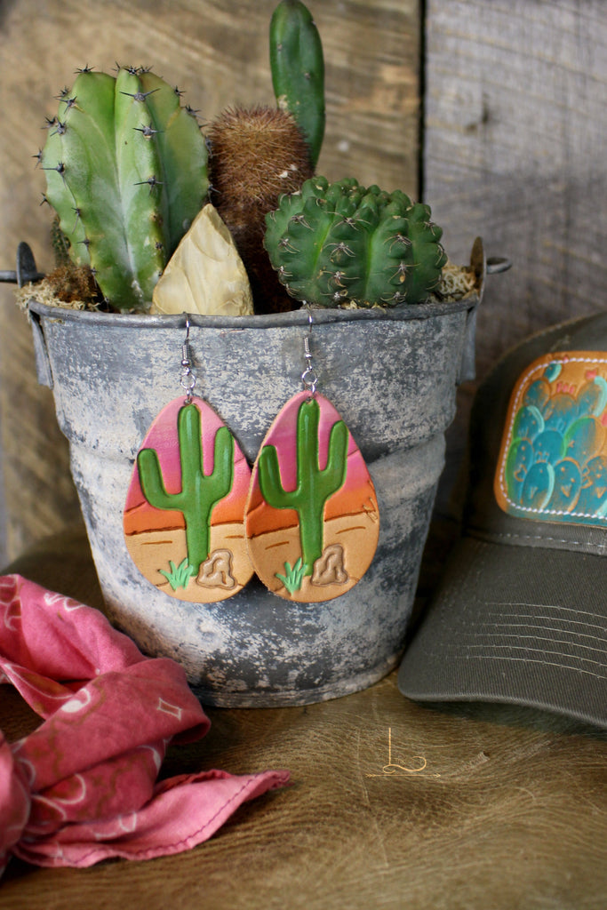 Saguaro Leather Earrings - L Trading