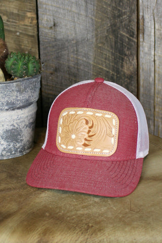 Heather Red & Natural Buckstitch Cap