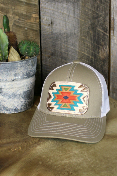 Tan Aztec Patch Cap - L Trading