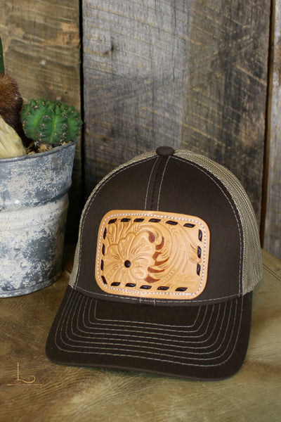 Brown Buckstitch Patch Cap - L Trading