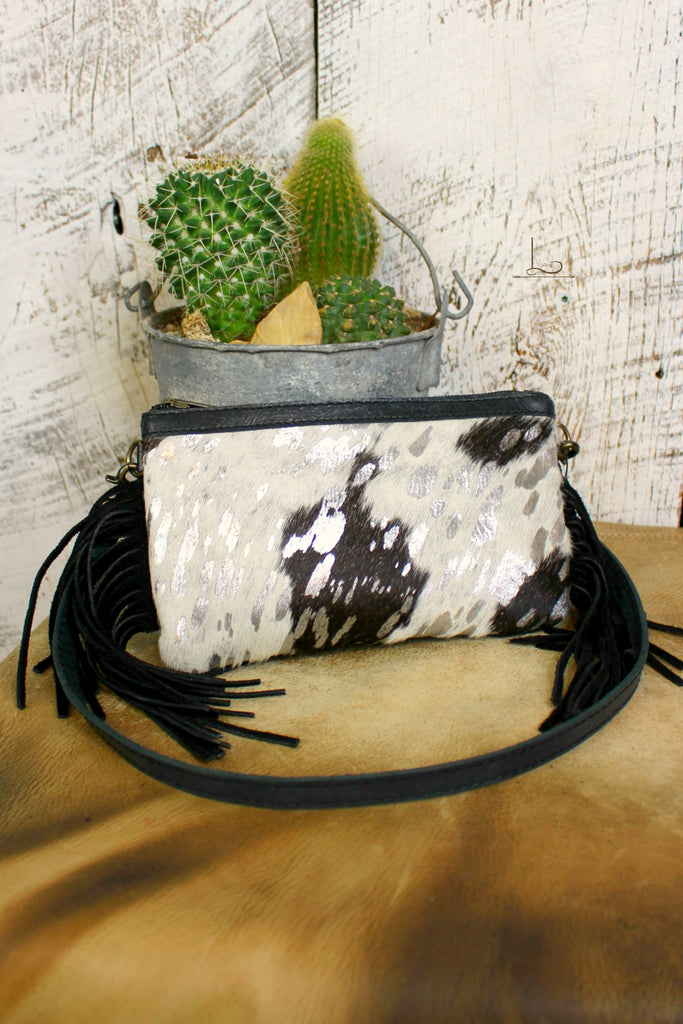Cowhide Mini Crossbody/Clutch with Silver Wash - L Trading
